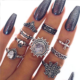 Moonlight  ::  9 -Piece Boho Midi  Ring Set -