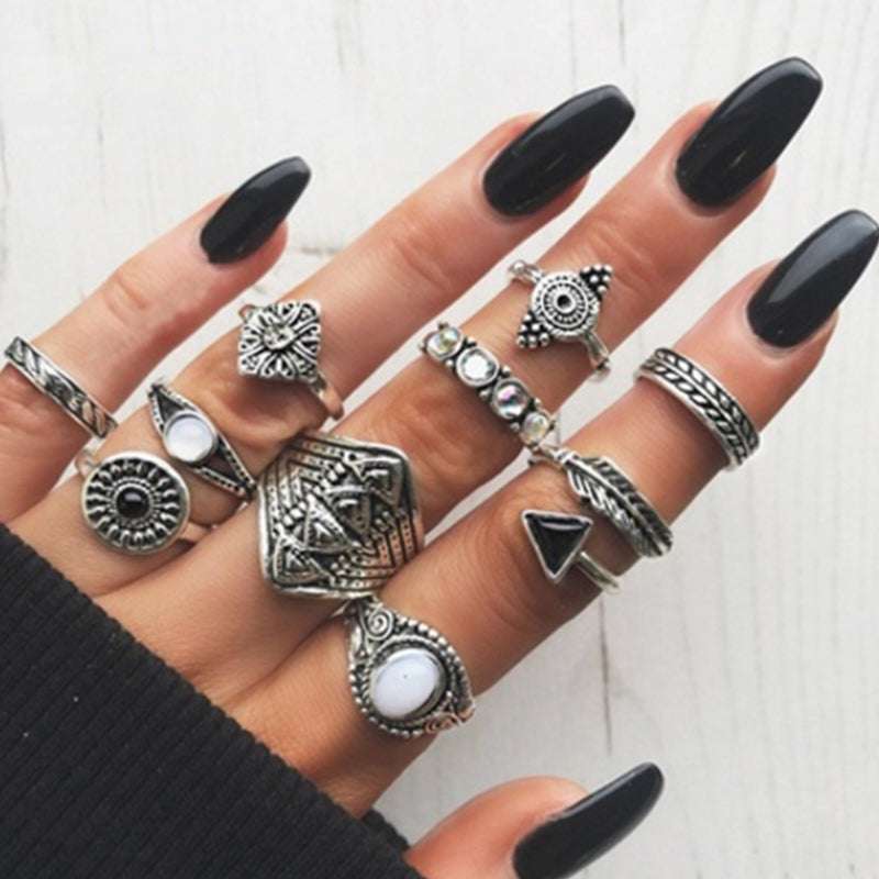 Oh So Boho  ::  10 -Piece Boho Midi  Ring Set -