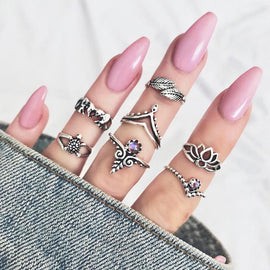 Featherly  ::  7 -Piece Boho Midi  Ring Set -