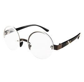Style 8825 Men's Round Half Frame Reading Glasses  :: Available in 2 Colors