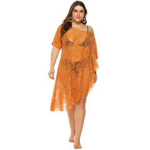 Style 906 Plus Size Sunshine Lace Swimsuit Cover Up :: BEST SELLER