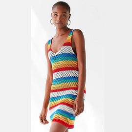 Style 907 Boho Knitted Rainbow Cover Up