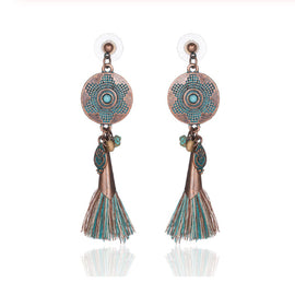 La Bohem Collection - Turquoise and Copper Tassel Earrings