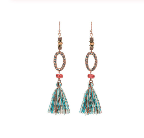 La Bohem Collection - Dimpled O's Beaded Tassel Earrings