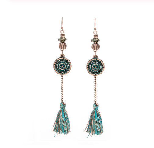 La Bohem Collection - Mandela Coin and Tassel Earrings