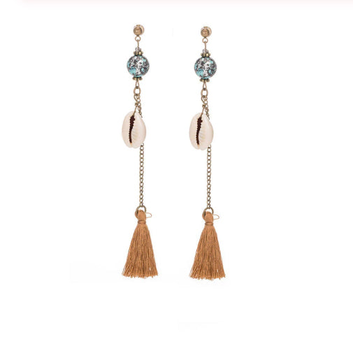 La Bohem Collection - Sea Shell Tassel Earrings