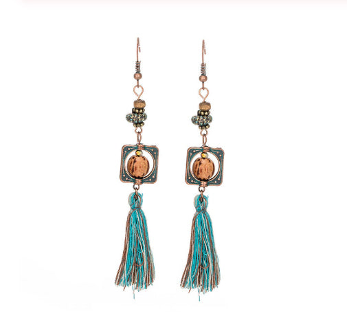 La Bohem Collection - Extra Long Framed Beads and Tassel Earrings