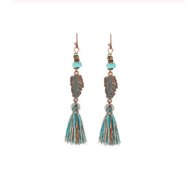 La Bohem Collection - Turquoise, Feathers and Tassels  Earrings