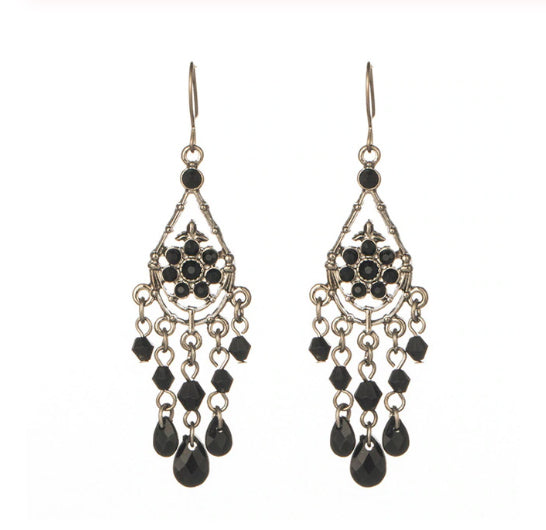 Hand Crafted Black & Silver Chandelier Earrings