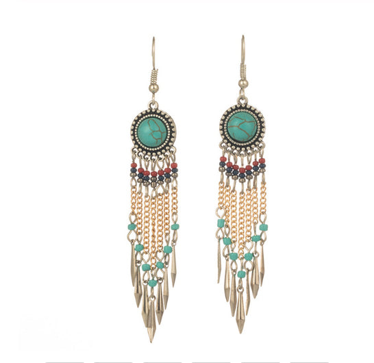 La Bohem Collection - Native American Turquoise Dream Catcher Style Earrings