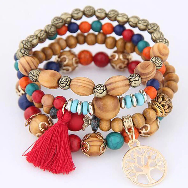 Boho Stacked Tree of Life Wooden Bead Bracelet 4 -Piece Set :: Available in 5 Colors