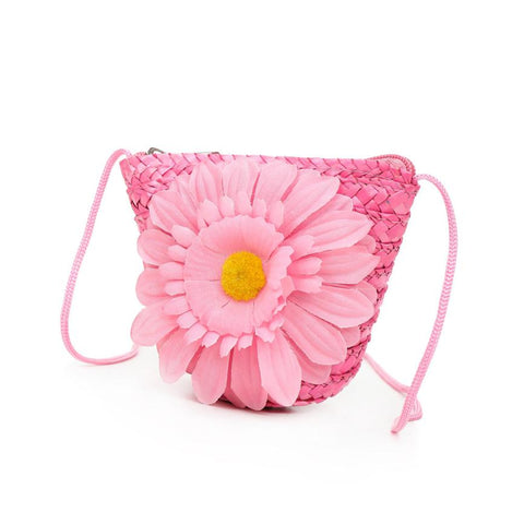 Summer Daisy! Hand Woven Straw Tote w/Oversized Silk Daisy - Available in 4 Colors