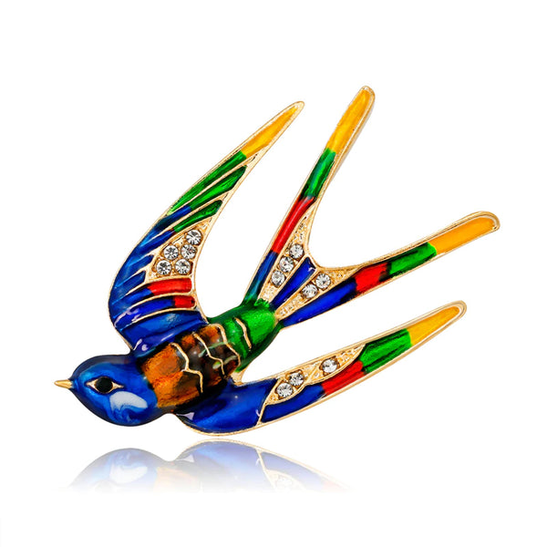 Vibrant Sterling Silver & Enamel Swallow Brooch :: Available in 3 Colors