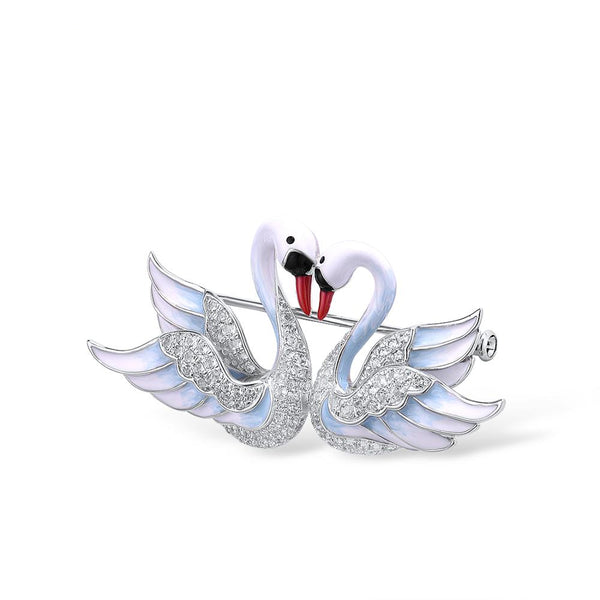 Handcrafted Kissing White Swans Luxury Brooch