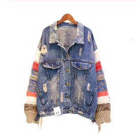 Sweater Sleeve Denim Jacket