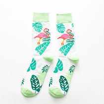 Men's Cotton Crew Socks - Tropical Flamingo Collection - 4 Pair Set
