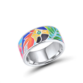 Hand Crafted Tropical Parrot Inlaid Sterling Silver Band
