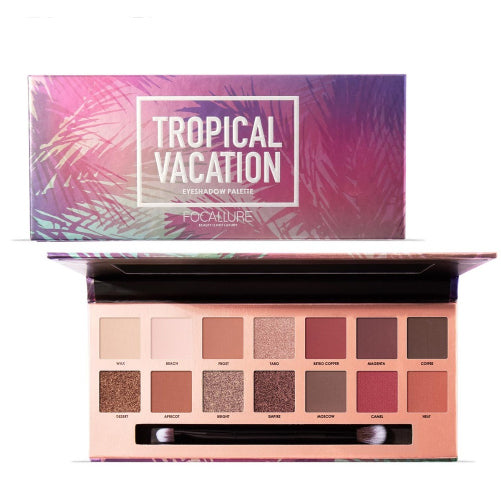 FOCALLURE Tropical vacation Pro Series Eye Shadow Pallet  18 Colors - Free Pro Brush