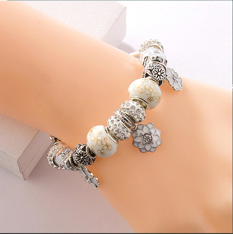 Ivory Crystal Wedding Bouquet Handmade European Charm Bracelet