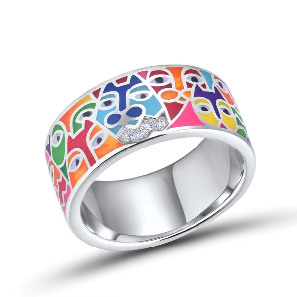 Deco Style Whimsy Cat Inlaid Sterling Silver Band