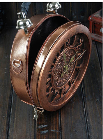 Novelty Collection - Authentic Wood Old Fashioned Clock Shoulder Bag/Purse :: Available in 3 Colors
