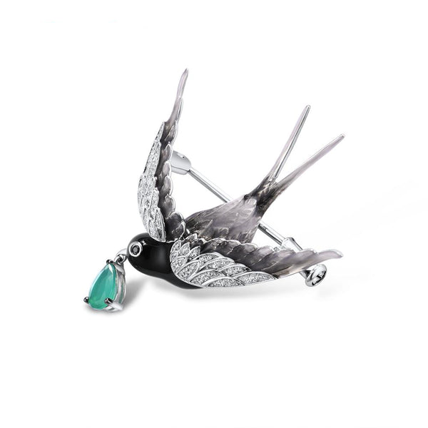 Handcrafted Enamel Wren with Crystal Rain Drop Luxury Brooch