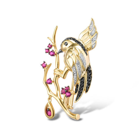 Handcrafted Perched Wren w Crystal Rain Drop Luxury Brooch