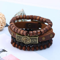 Tribal 4-Layer Ying & Yang Men's Genuine Leather & Wooden Bead Bracelet