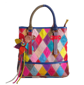 Colored Diamond Leather Tote