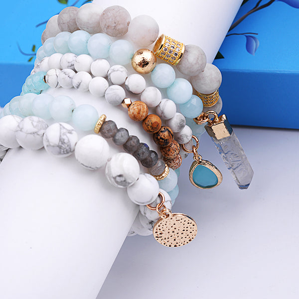 Bohemian Natural Stone & Wooden Bead 6-Piece Stack Bracelet