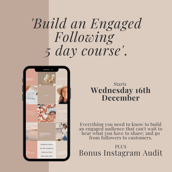 Build An Engaged Following 5 day course + bonus Instagram Audit