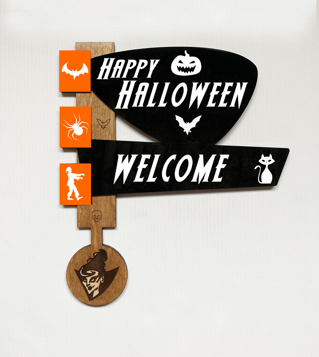 Mid Century Atomic Style Halloween Welcome Sign