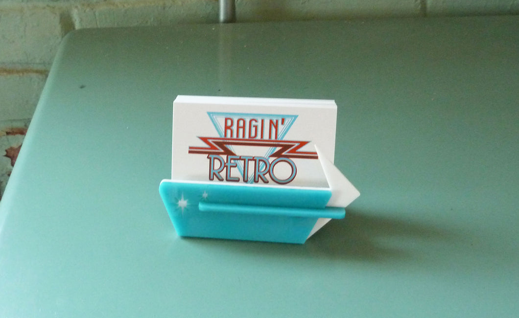Mid Century Style Business Card Holder - Personalized and Adjustable
