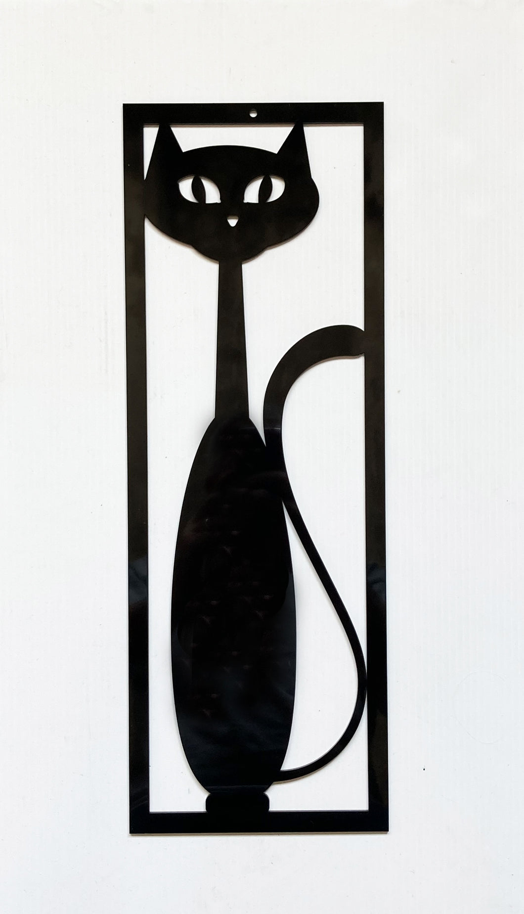 Mid Century Modern Black Cat Wall Decor - Retro Black Cat
