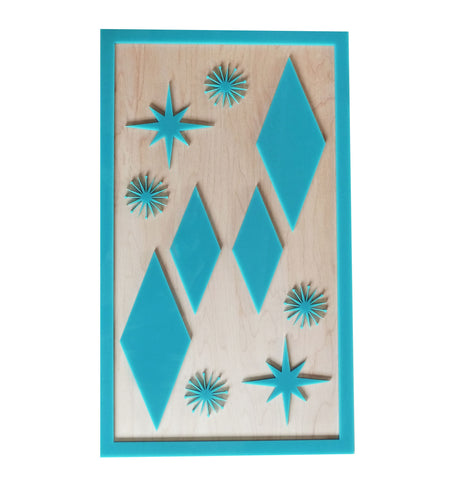 Mid Century Modern Wall Art - Teal Atomic Item1959