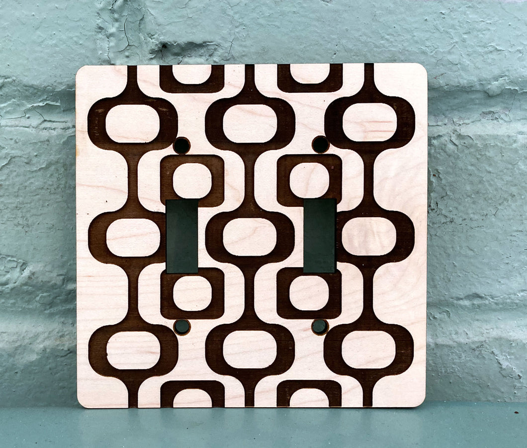 Mid Century Modern Light Switch Cover - Double Switchplate