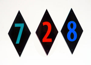 Individual Mid Century Modern House Number - Diamond Shaped Sign