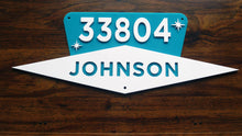 Load image into Gallery viewer, Mid Century Modern House Number Sign, Custom Address Sign w/ Name