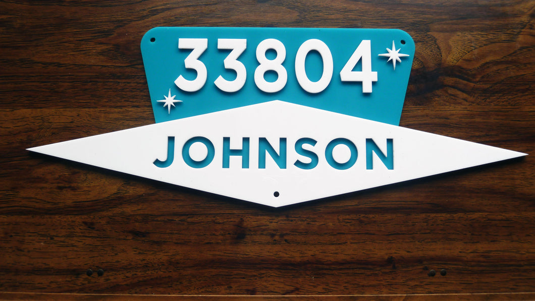 Mid Century Modern House Number Sign, Custom Address Sign w/ Name