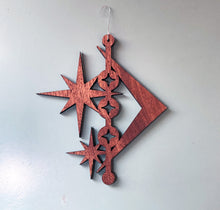 Load image into Gallery viewer, Mid Century Modern Christmas Wood Atomic Ornament