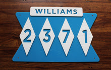 Load image into Gallery viewer, Mid Century Modern House Number Sign with Name
