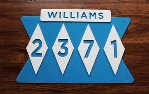 Mid Century Modern House Number Sign with Name