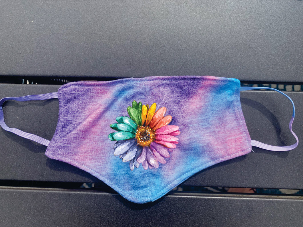 Blue, Pink and Purple Tye Dye Sunflower Face Cover