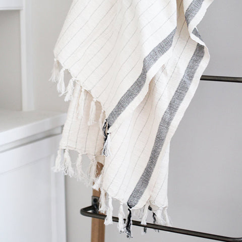 cream and black silk turkish towel
