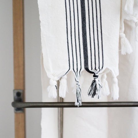 off-white and black stripe turkish towel or blanket