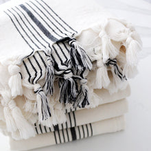 Load image into Gallery viewer, off-white and black stripe turkish towel or blanket