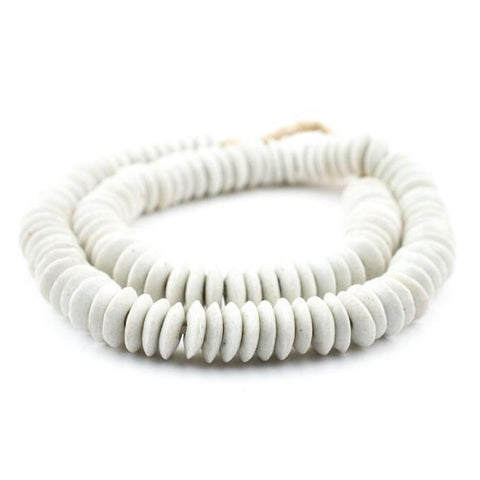 handmade white ash saucer shaped beads on string for decoration
