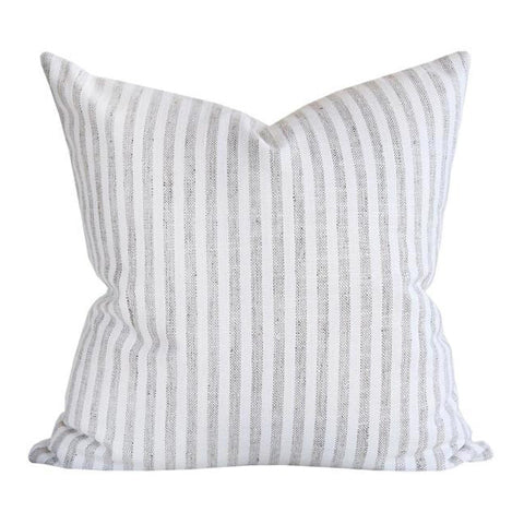Classic white and taupe stripe pillow