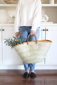 palm and leather shopping basket tote