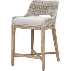 the most comfortable rope, fabric and wood counter stool